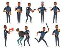 Milicyjni charaktery Patrolowe policjant ochrony władzy maskotki w akcji pozują wektorowe kreskówek ilustracje ilustracji