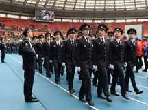 Milicyjni kadeci przy paradą Zdjęcie Royalty Free