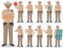 Milicyjni ludzie pojęć Szczegółowa ilustracja amerykański policjant, szeryf pozycja w różnych pozycjach w mieszkaniu ilustracji