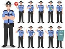 Milicyjni ludzie pojęć Szczegółowa ilustracja amerykański policjant, szeryf pozycja w różnych pozycjach w mieszkaniu royalty ilustracja