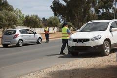 Milicyjny blokada na drodze pojazdu czek Zdjęcie Royalty Free