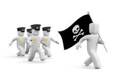 Milicyjny pościg dla piractwa ilustracji