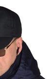 Milicyjny pracownika ochrony personelu policjant potajemnie słucha na specop pola sytuaci, odosobniony tajnego agenta portreta zb Obrazy Stock