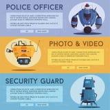 Milicyjny trutnia robot Patrolowy policjant z sztuczną inteligencją royalty ilustracja