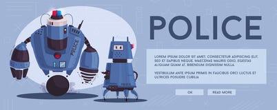 Milicyjny trutnia robot Patrolowy policjant z sztuczną inteligencją ilustracji