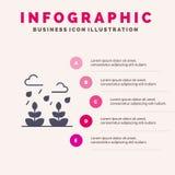Milieu, de Groei, Blad, het Levens Stevig Pictogram Infographics 5 de Achtergrond van de Stappenpresentatie vector illustratie