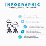 Milieu, de Groei, Blad, het pictogram van de het Levenslijn met infographicsachtergrond van de 5 stappenpresentatie vector illustratie