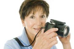 milieu digital de dame de contrat d'appareil-photo d'âge Images stock