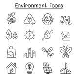 Milieu & Ecologiepictogram in dunne lijnstijl die wordt geplaatst vector illustratie