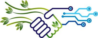 Milieu en elektronika vriendschappelijk embleem vector illustratie