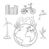 Milieu, groene energie en ecologieschetsen Stock Foto