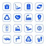 Milieu pictogrammen - blauwe reeks Royalty-vrije Illustratie