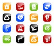 Milieu pictogrammen - kleurenreeks Stock Fotografie