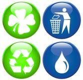 Milieu pictogramreeks Stock Foto