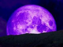 milieu pourpre superbe de dos de lune sur la montagne Photos stock