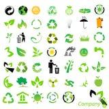 milieu recyclingspictogrammen Stock Foto