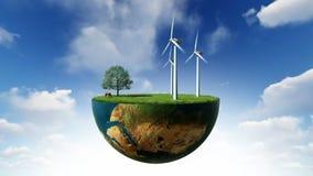 Milieuconcept, de turbines van de de holdingswind van de Aardebol, Luma-Steen in bijlage royalty-vrije illustratie