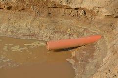 Milieuvervuiling: afvalwaterafzet Stock Fotografie