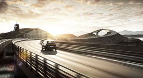 Milieuvriendelijke elektrische auto op een weg royalty-vrije stock afbeeldingen