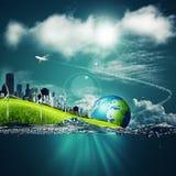 Milieux abstraits d'écosystème sous les cieux bleus pour votre DES illustration stock