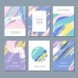Milieux abstraits en pastel d'aquarelle Cartes d'invitation de vecteur avec la texture de brosse de main Photo libre de droits