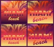 Milieux au néon dans le style d'art de bruit avec le lettrage de Miami Beach et les silhouettes de palmettes pour le T-shirt, les Illustration de Vecteur