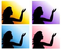 Milieux augmentés par main de femme Photos libres de droits