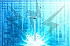 Milieux bleus d'Abstrack avec l'éclat inapperçu, moulins à vent Photos libres de droits