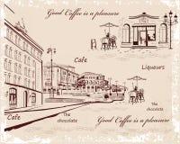 Milieux décorés de vieilles vues de ville et de cafés de rue illustration de vecteur
