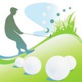 Milieux de golf avec la silhouette. Image libre de droits
