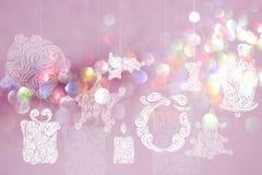 Milieux de jour de Noël avec les milieux roses de bokeh Images stock