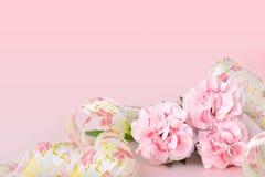 Milieux de jour de mères, oeillets roses sur le fond rose Photo stock