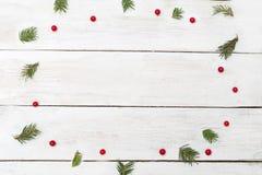 Milieux de Noël Branches d'arbre vertes de Noël et vib rouge Photo stock