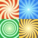 Milieux de vecteur de bande dessinée réglés Rétro rayon de soleil et effets en spirale avec le modèle tramé illustration de vecteur