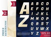Milieux géométriques d'alphabet polygonal de Crystal Font polychromes Images stock