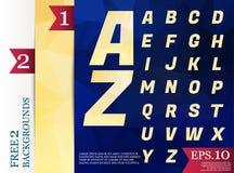 Milieux géométriques d'alphabet polygonal de Crystal Font polychromes Image libre de droits