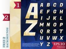 Milieux géométriques d'alphabet polygonal de Crystal Font polychromes Photos stock