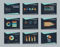 Milieux infographic noirs de conception de calibre de PowerPoint Ensemble de calibre de présentation d'affaires Photos libres de droits