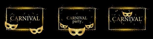 Milieux noirs de partie de carnaval avec des masques d'or illustration stock