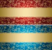 Milieux rouges et bleus avec le modèle d'or - cartes Images stock
