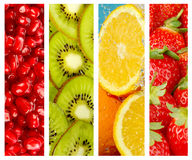 Milieux sains de nourriture, quatre images des fraises, kiwi, orphie Photo libre de droits