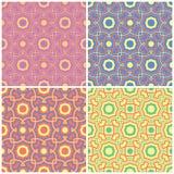 Milieux sans couture floraux colorés Ensemble de modèles lumineux avec les éléments géométriques Image stock