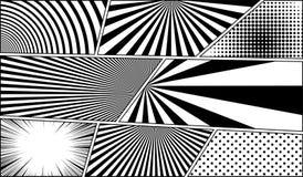 Milieux vides monochromes de bande dessinée réglés Images stock