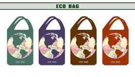 Milieuzakken Ecologische pakketten Ecozakken van ontwerpopties Royalty-vrije Stock Afbeeldingen