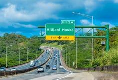 Mililani Entrance. Exiting to Mililani Mauka from H2 North Freeway Royalty Free Stock Photo