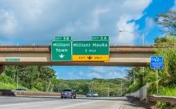 Mililani Entrance Freeway. Exiting to Mililani Town and Mililani Mauka from H2 North Freeway Stock Photos