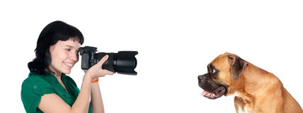 Miling photographer in photo session Stock Images