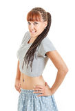 Miling pretty girl or woman in mini skirt and short t-shirt royalty free stock photo