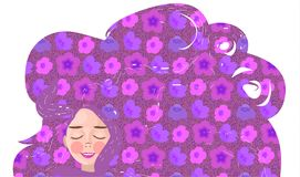 Miling young girl with long flowing hair. pattern with pink flowers. And circles on pink background royalty free illustration