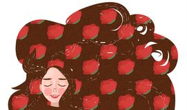 Miling young girl with long flowing hair. pattern with red flowers. And circles on brown background stock illustration